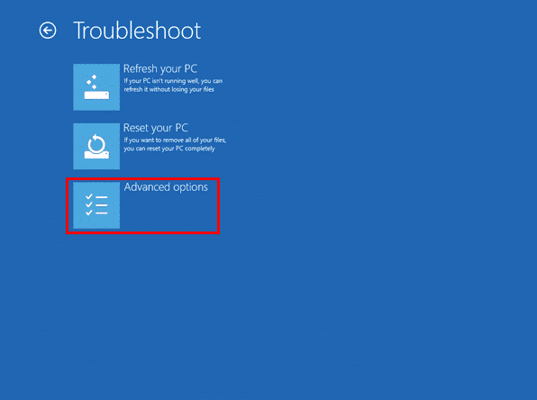 Options avancées dans troubleshoot sur Windows 8