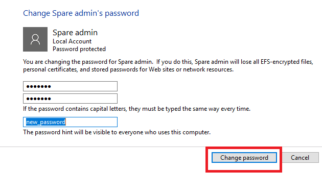 change HP laptop password