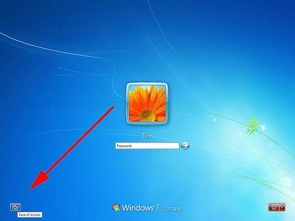 click on ease of access button in windows 7