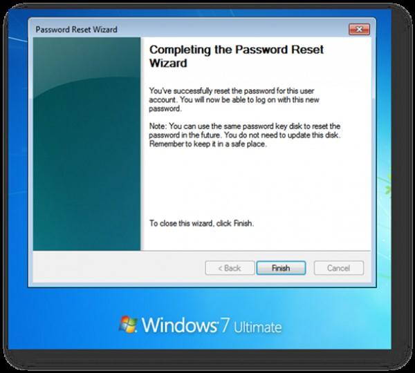 completing the password reset wizard in laptop