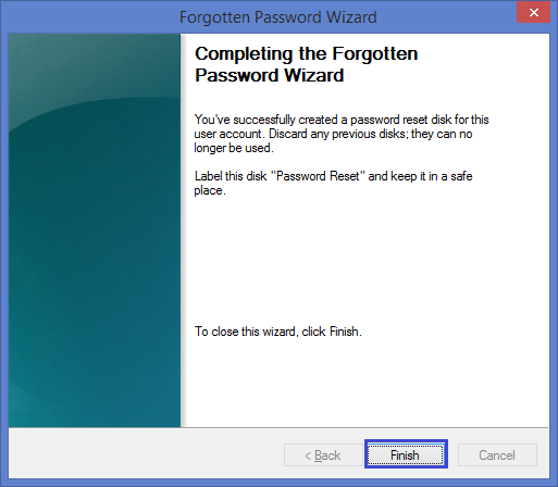 Completing the forgotten password wizard in Windows 8