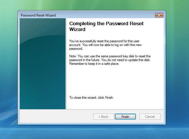 Completing the password reset wizard Windows 7