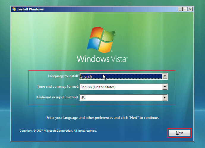 Configurez l'installation de Windows Vista