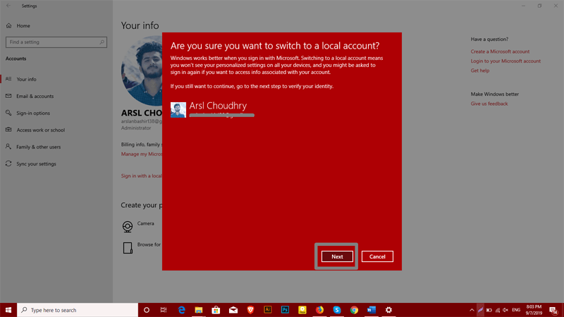 confirm to switch to a local account in Windows 10