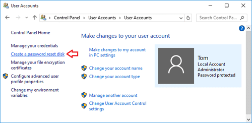 Create a password reset disk in Windows 10