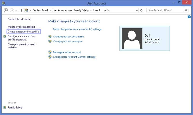 Create a password reset disk in Windows 8