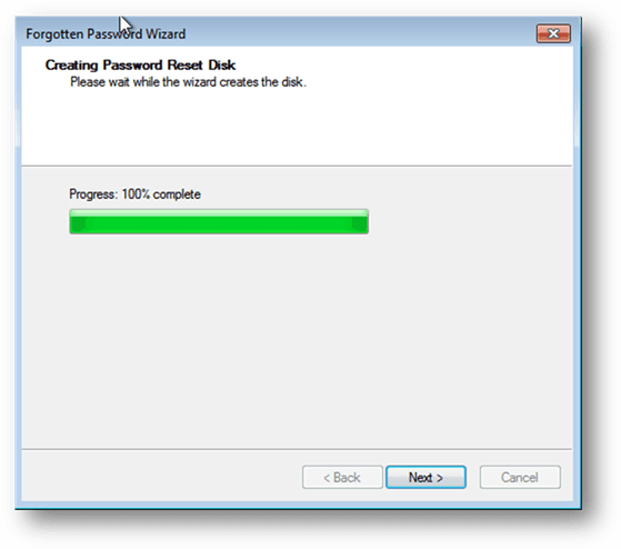 Creating Windows 7 password reset disk