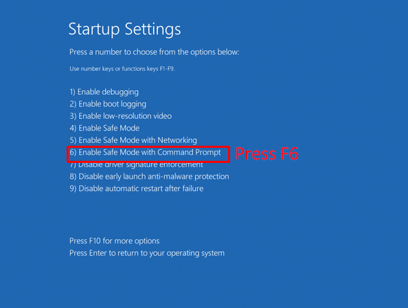 Windows 8 enable safe mode with command prompt in startup settings