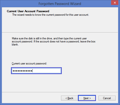 enter current account password to create a Windows 8 reset disk