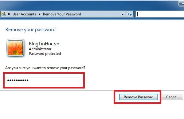 enter current password to remove password windows 7