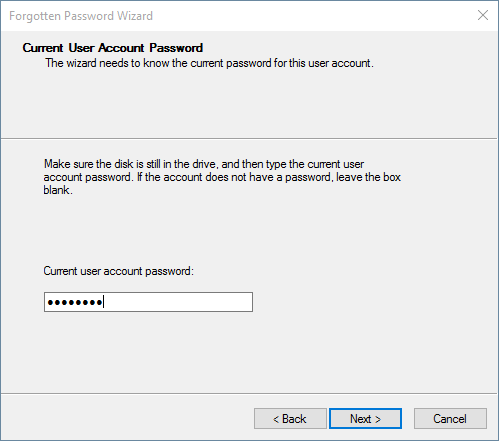 enter current user account password to create a reset disk in Windows 10