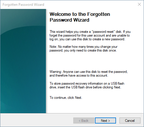 Forgotten password wizard in Windows 10