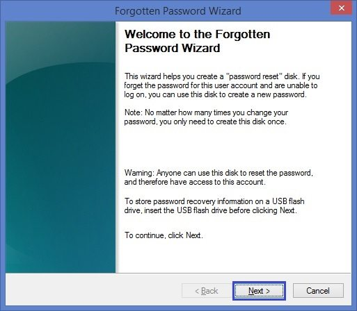 Forgotten password wizard in Windows 8