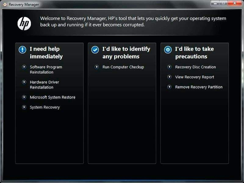 Select System Recovery in HP Recovery Manager