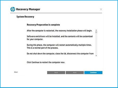 start to factory reset hp laptop