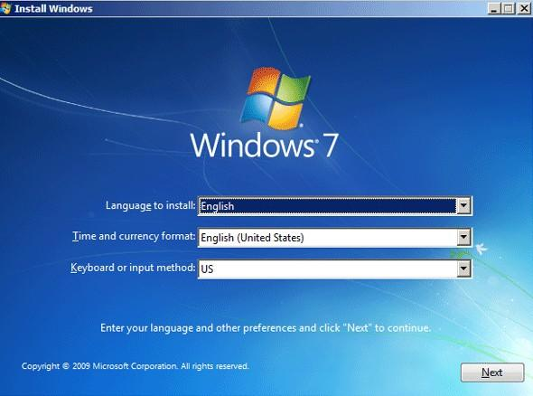 installez windows 7