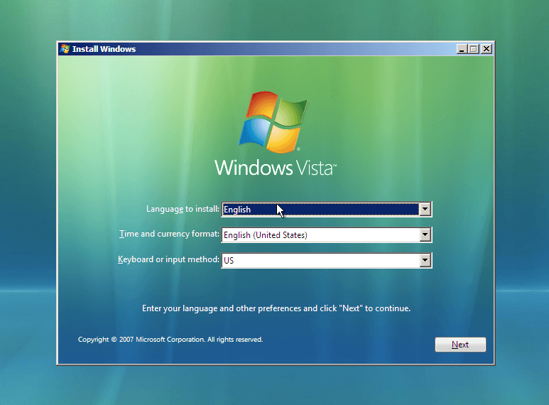 Installez Windows Vista