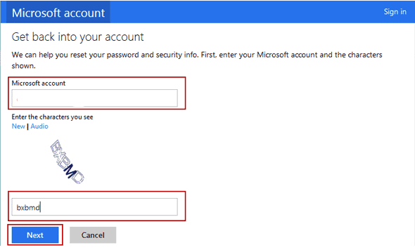 Windows 8 microsoft get back into account