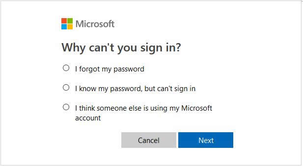 Choose option for reset Microsoft surface password