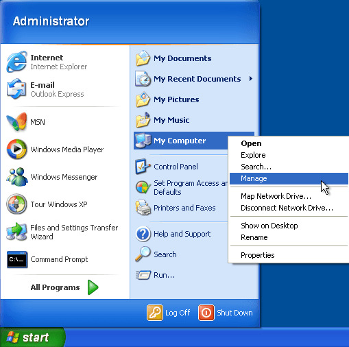 my computer manage from start menu in windows xp vista