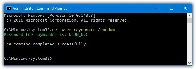 net user random password for windows