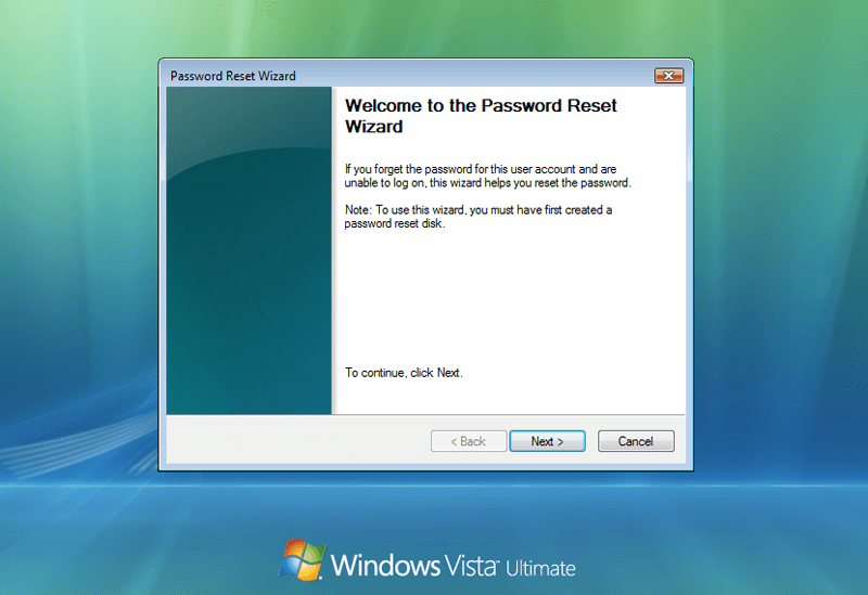 password reset wizard sur Windows Vista