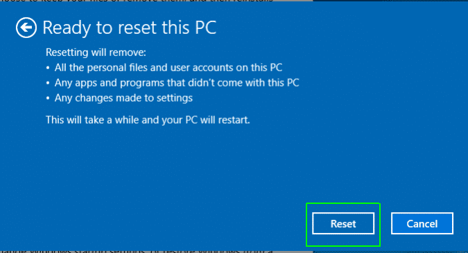 Pick Reset to factory reset Acer laptop Windows 10 password