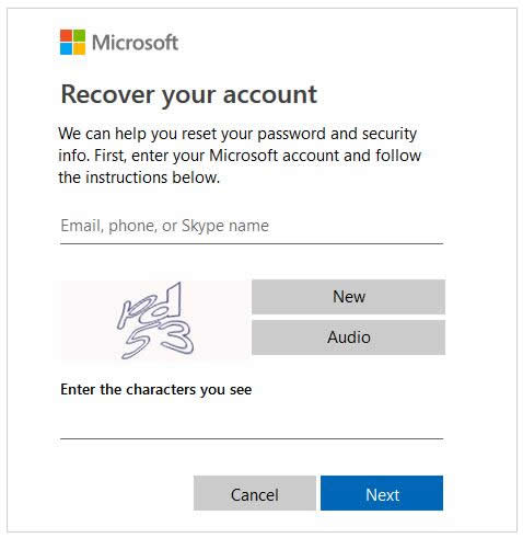 recover your microsoft account in Windows 8