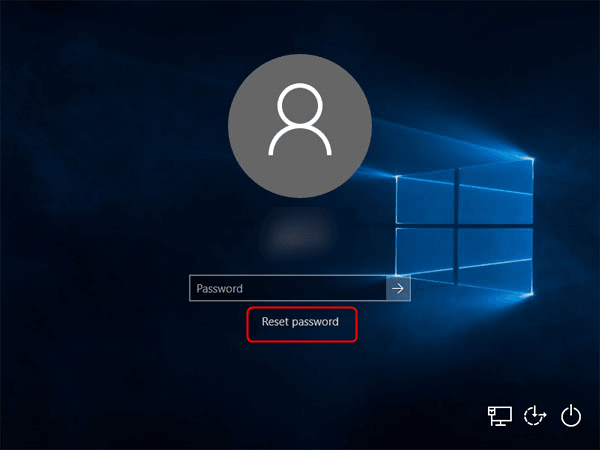 Select Reset password for Lenovo laptop