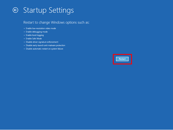 Windows 8 restart in startup settings