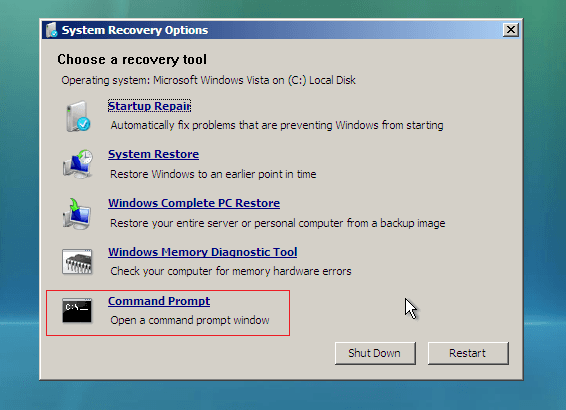 select Command prompt in laptop