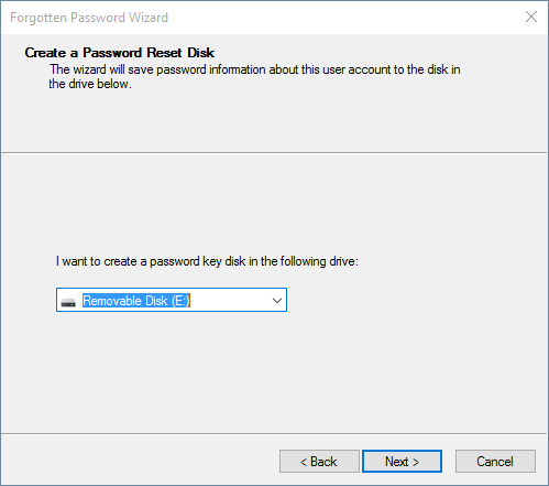 select the drive to create a Windows 10 password reset disk