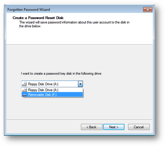 select the drive to create a Windows 7 password key disk