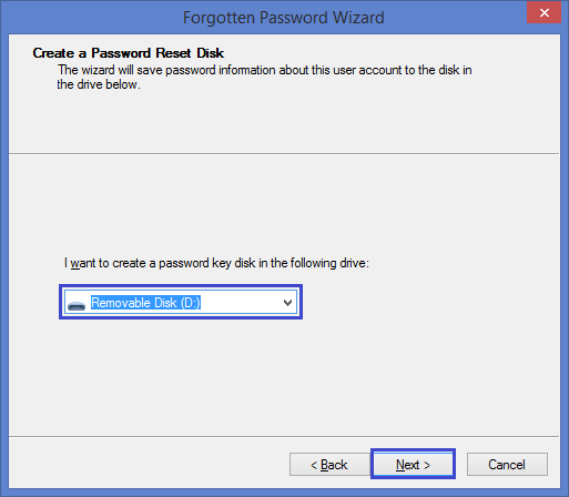select the drive to create a Windows 8 password reset disk