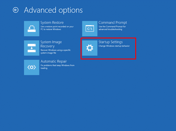 Windows 8 startup settings in advanced options