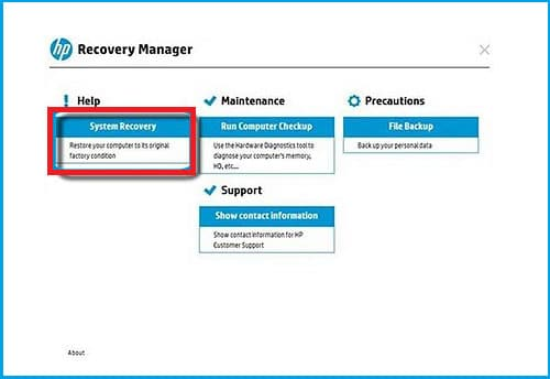 Select System Recovery in HP laptop