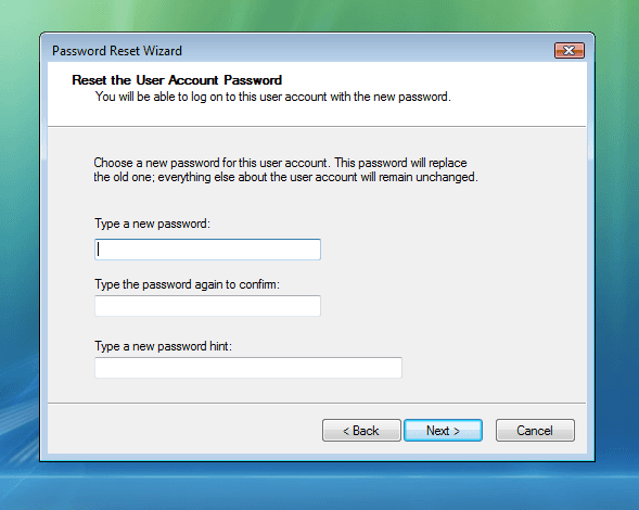 Reset default administrator password Windows 7 and confirm