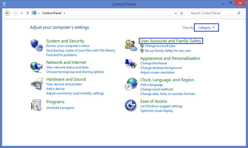 User accounts and family safety in Windows 8/8.1