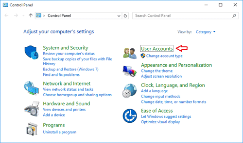 User accounts in control panel in Windows 10