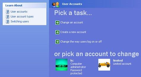 réglages de comptes utilisateurs sur Windows xp