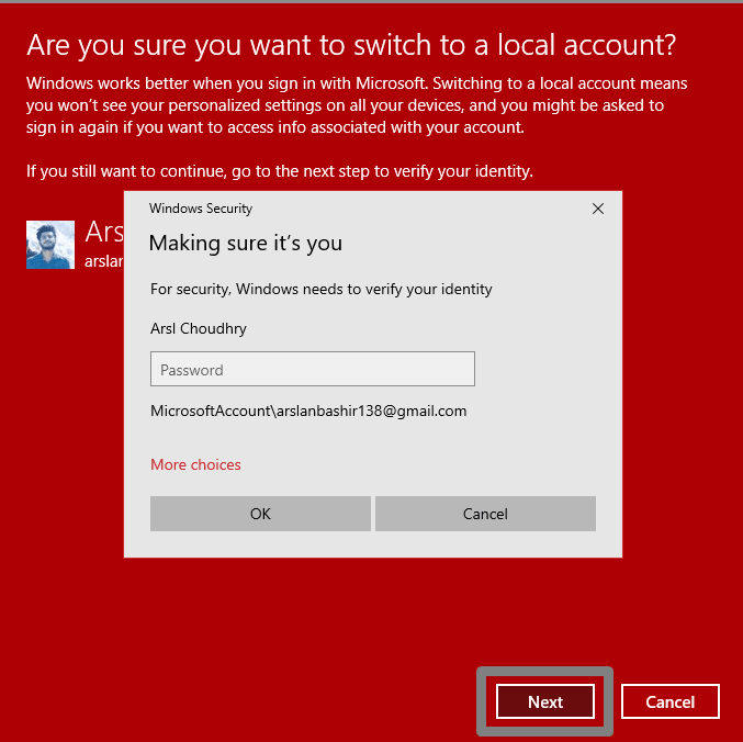 verify your identity of Microsoft account
