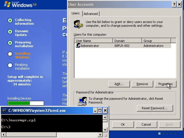 windows xp console user accounts reset password