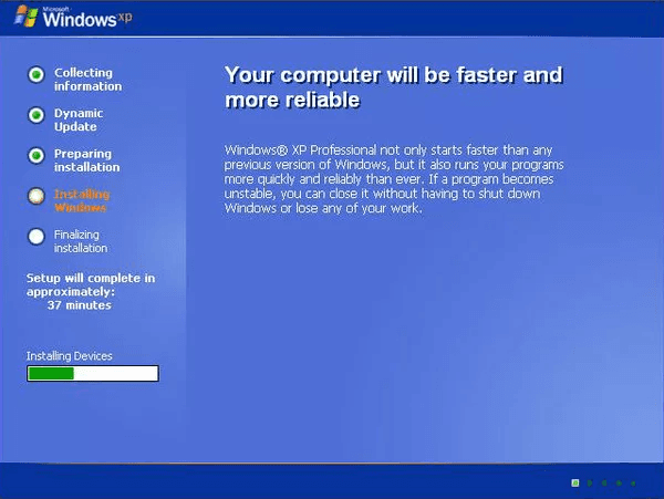 windows xp installing device