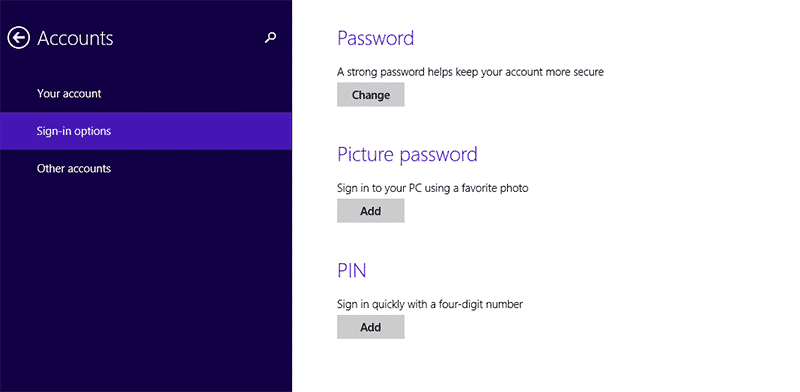 3 verschiedene Passwortoptionen in Windows 8