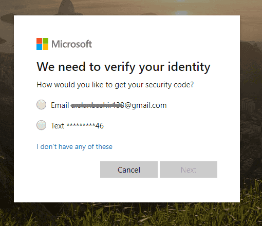 enter email account for verification to bypass