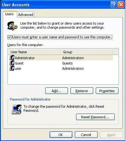 Choose a Windows XP User account and reset password