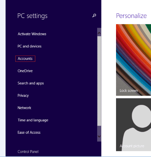 Click Accounts in Windows 8 PC settings