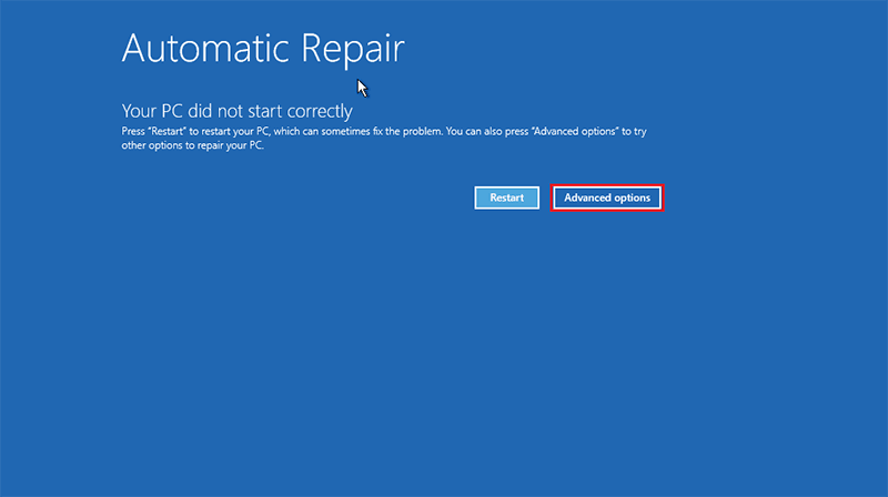 Click on Advanced options to reset windows 8.1 administrator password