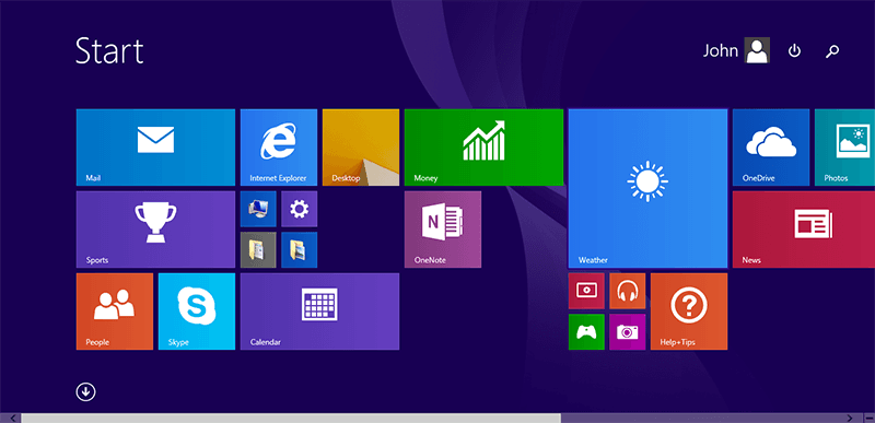 Click Start menu in Windows 8