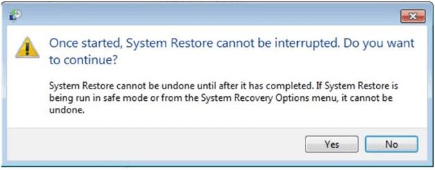 continuez la restauration de Windows à ses réglages par défaut